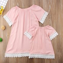Mother Daughter Dresses Fashion Family Lace Mini Dress Matching Mom Girls Family Clothes Summer Women Baby Mommy And Me Clothes