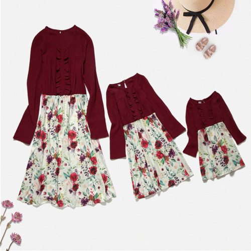 Fashion Mother daughter Dresses Winter Mommy and me clothes Floral Stitching Family Look