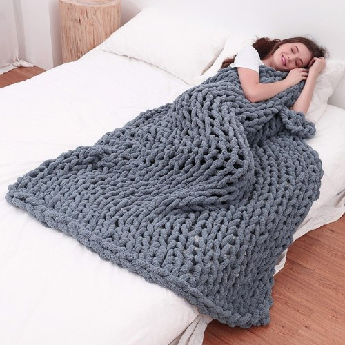 Chunky Knit Blanket Dark Grey