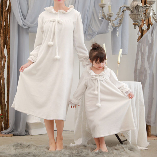 Family Pajamas Matching Mother Daughter Flannel Dresses Nightgown