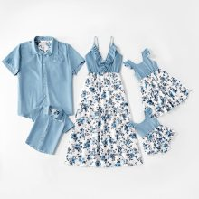 Family Matching Outfits Summer Clothes Floral Dress Blue Shirt Kids Children Parent Clothes