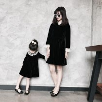 Mommy and Me Velour Dresses Velvet Family Matching Clothes