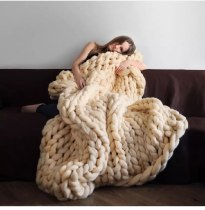 Knit Chunky Blanket Hand Made Bed Sofa Chair Mat