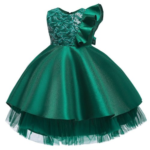 Sequin Satin Girls Pageant Tulle party dress