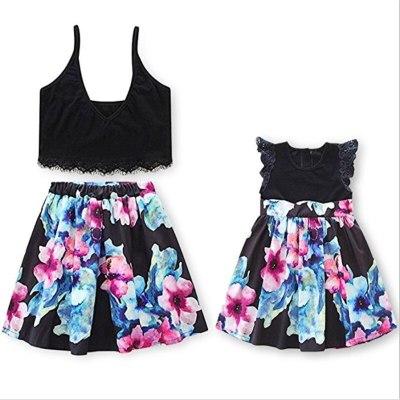 Lace Crop Top Tee+ Floral Tutu Skirt  European Style Parent Child Dress