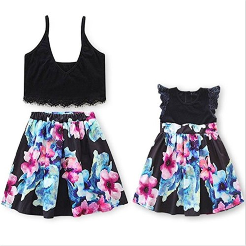 Lace Crop Top Tee+ Floral Tutu Skirt  European Style Parent Child Dress