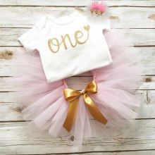1 Year Old Birthday Party Baby Girl Dress Newborn Baby Girl Christening Gown Romper with tutu Dress Headband