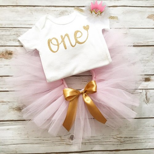 1 Year Old Birthday Party Baby Girl Dress Newborn Baby Girl Christening Gown Romper with tutu Dress Headband