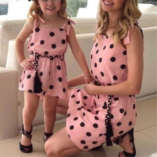Family Match Outfits Sling Polka Dot Mother Daughter Dresses