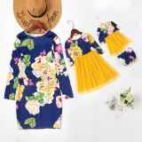 Long Sleeve Dress Clothes Family Look Matching Patchwork Mesh Dresses For Mother Daugthe