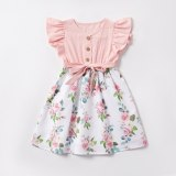Sweet Family Matching Outfit Mom and Daughter Floral Cute Ruffles Fly Sleeve Buttons  Parent Baby Dress