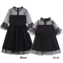 Mommy and Me Family Matching Clothes Black Lace Dress Girls Mother Daughter Dresses Boutique Kids Clothing Parent Child Outfits