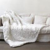 Warm Soft Chunky Knit Blanket for Bedroom Sofa Decor