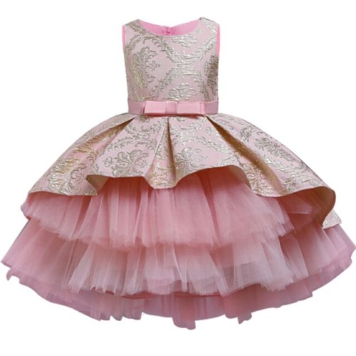 Girl Lace Party Dress Elegant Princess Wedding Gown