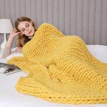 Chunky Knit Blanket Merino Wool Hand Made Throw Boho Bedroom Home Decor
