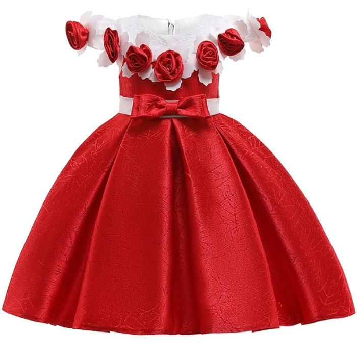 Girls Appliques Ball Gowns 3D Flower Party Wedding dress