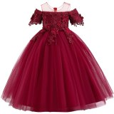 Lace Girls Wedding Dress Princess Party Pageant Long Dress