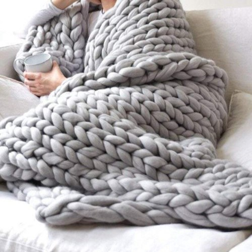 Chunky Knit Blanket Grey 40 x47