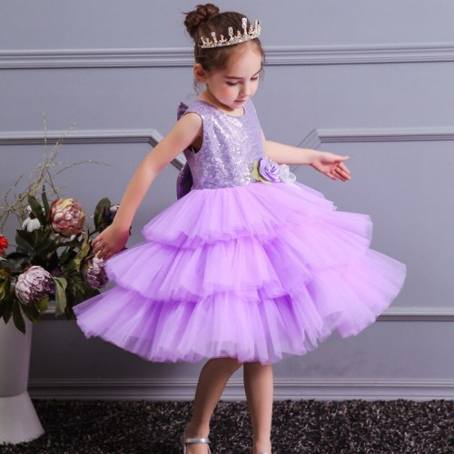 Sequined Layered Girls Dress Floral Elegant Princess dress