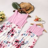 Mother And Daughter Stitching Dress Family Matching Clothes Outfits Long Skirt