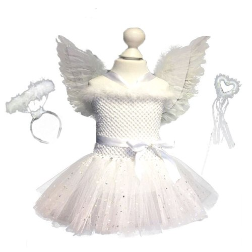 White Sparkle Girl Feather Angel Birthday Dress with Wings and Fairy Wands