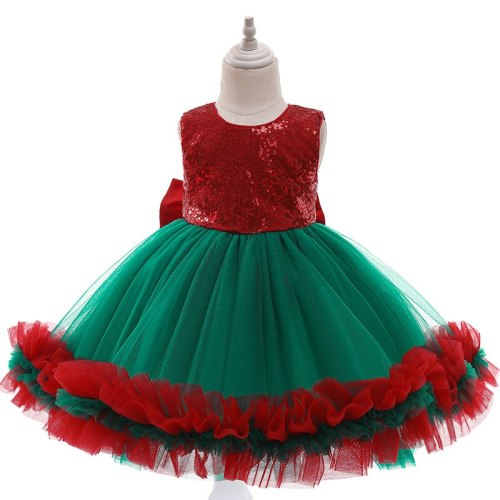 Baby girls dress sequins with bow Cake children's  Christmas dress