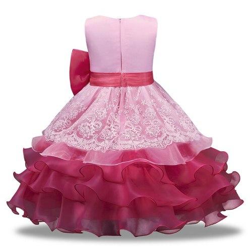 Lace Bowknot Flower Girl Dresses O-neck Kids Dress