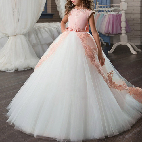Flower Big Bow Long Prom Gowns Girl party Dress