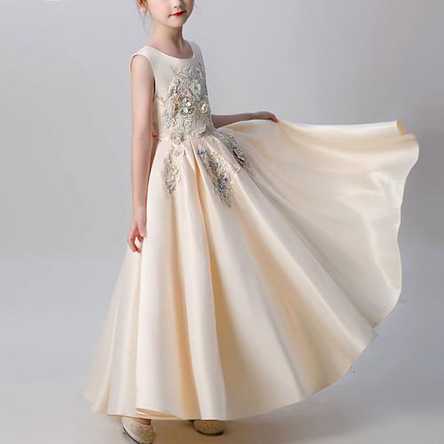 Princess Lace Dress Girls Flower Embroidery Dress