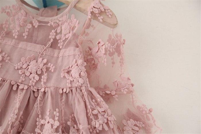 3-8Y Baby Girls Lace Flower Dress Princess Dress