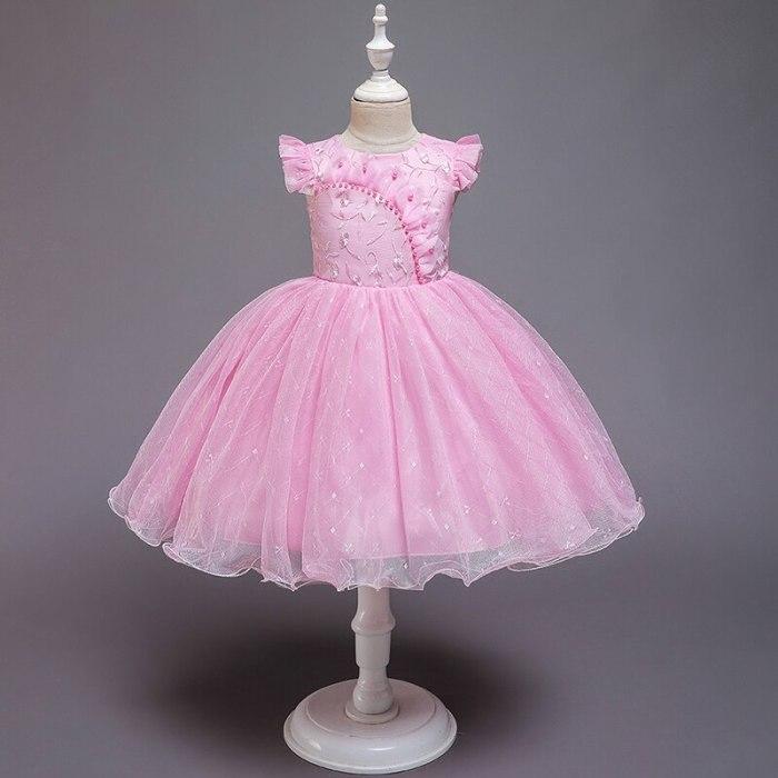 Elegant Pearl Princess Girls Wedding Flower Girl Dress