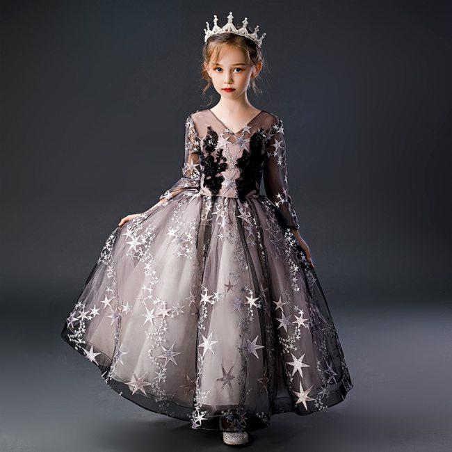 Flower Girl's Lace Dress Elegant Girl's embroidery Wedding Dress