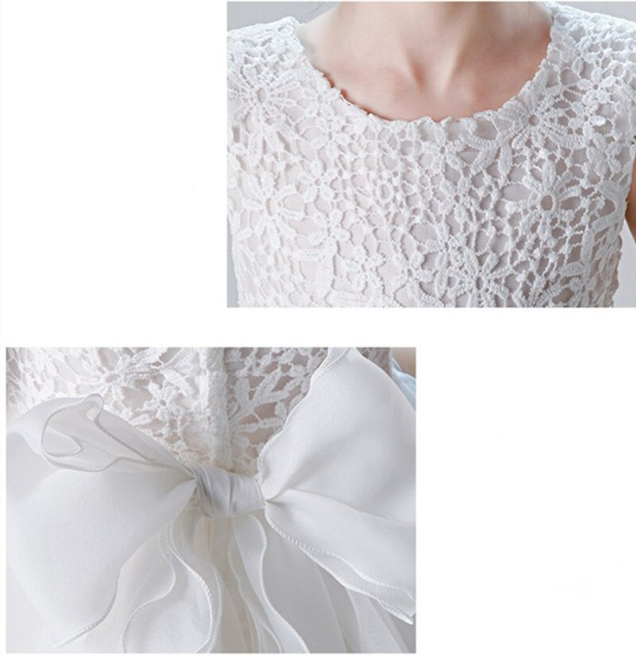 Girls Wedding Birthday Gown Lace Tutu Princess Dress