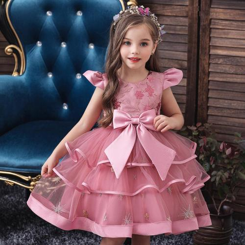 Kids Girl Cake Tutu Flower Dress Children Party Wedding Formal Dress