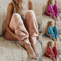 Soft Casual Plain Home Pants