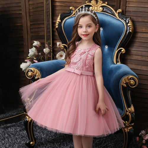 Beaded Tulle Puffy Kids Party Dresses Flowers Girl Dress