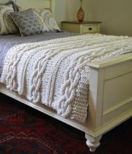 DIY Knitting PATTERN - Triple Cable Throw Blanket / Rug 50  x 60