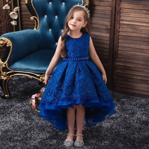 Girl's Trailing Dress Lace Embroidered Flower Girl Dress