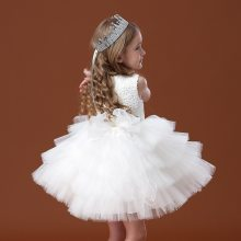 Girls Wedding Birthday Gown Lace Tutu Princess Dress