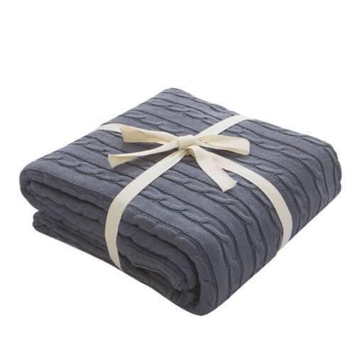 Woven Cotton Throw Chunky Blanket 70 x80
