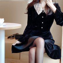 Women party lace velvet Dress Girls Vintage Dress
