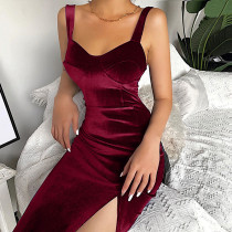 Velvet Sleeveless Bodycon Dress Sexy Split Skinny Party Dress