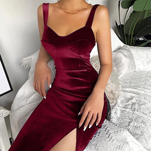 Velvet Sleeveless Bodycon Dress Sexy Split Skinny Party Dress