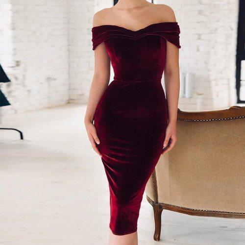 Women Sexy Slash Neck Velvet Dresses