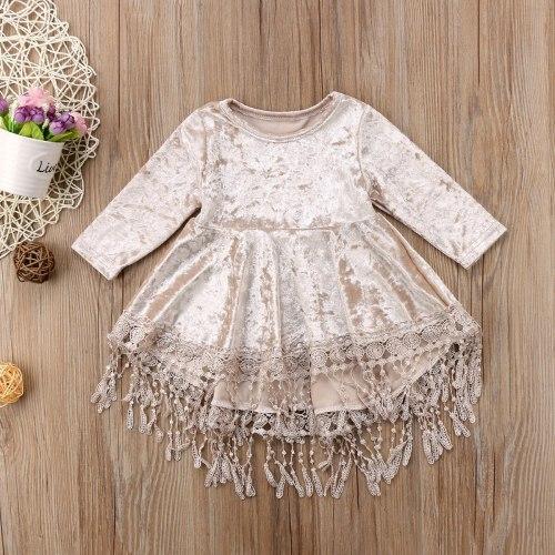 Christmas Dress for Baby Girls Princess Velvet Tassel Dress
