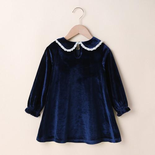 Baby Girls Dress Peter Pan Collar Velvet Dress