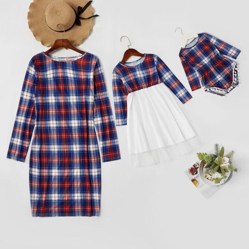 Family Matching Outfits Mother Daughter Long Sleeve Plaid Family Dress