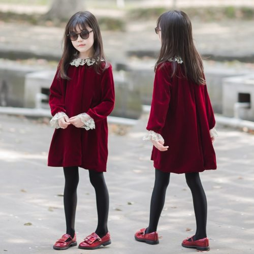 Girls Winter Dress Velvet Kids Party Clothes