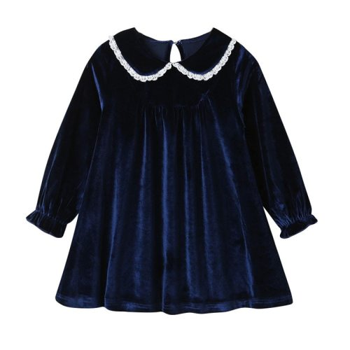 Baby Girls Dress Peter Pan Collar Velvet Dress