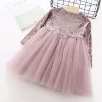 Girls Velvet Princess Dress Kids Party Birthday Dresses
